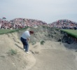 Ian Woosnam hits a bunker shot on the Ocean Course at Kiawah Island Resort during the in the 1991 Ryder Cup Matches, AKA the War by the Shore.